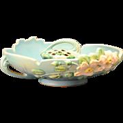 Roseville Pottery White Rose Bowl 392-10 and Flower Frog Set in Sea Blue , 1940