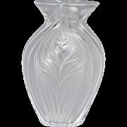 Lalique Crystal Vase, Pavie Leaves of Corn
