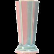 Vintage Roseville Pottery Vase,  Futura Pleated Star Vase (Shape 385-8)  in Pink ca. 1924