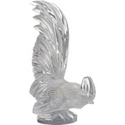 "Lalique Crystal ""Tete Au Coq"" Rooster Car Mascot"