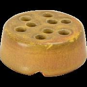 Rookwood Pottery Flower Frog Matt Tan Brown 9 Holes (Shape #1621E), 1919