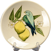 Moorcroft Pottery White Pin Dish Plate with Blue Bird