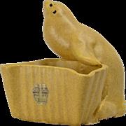 Niloak Pottery Planter Tan Brown Seal with Sticker, 1941-45