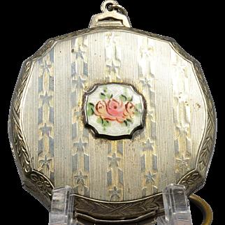 Rariok 1920s Guilloche Enamel Finger Ring Dance Round Compact Keychain