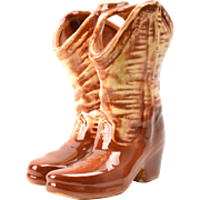 Mccoy Pottery Vase, Brown Cowboy Boots 1960's