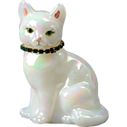 Fenton Glass Hand Painted Cat, Emerald May