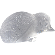 Lalique Crystal Paperweight, Hedgehog Figurine