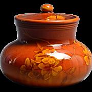 Rookwood Pottery 1889 Hand Thrown Standard Glaze Flowers Lidded Scent Jar #478 Harriet Wilcox