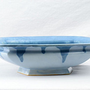 Roseville 1910 Carnelian I Blue Drip over Blue Large Console Bowl