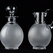 Lalique Langeais Frosted Ribbed Decanter and Pitcher