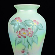 Fenton Opalescence Flower Design Vase Hand Painted by Sue Jackson