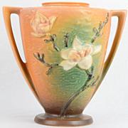 Roseville 1943 Magnolia Brown 2 Handle Vase 94-9