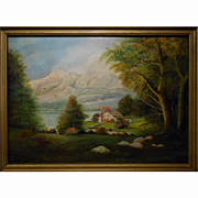 Large Hudson River Inspired Landscape Oil Painting Signed