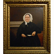 Antique Oil Portrait Of American Matron In Hand Carved Frame