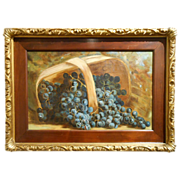 Antique Oil Painting Basket of Grapes