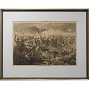 Winslow Homer Civil War Engraving Cavalry Charge 1862