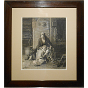 1848 Etching Of Mother, Child, Cat And Kittens