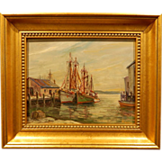 SOLD Fishing Boats Plein Air Marine Oil Painting (Gloucester) Signed Furlong