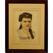Currier & Ives The Evening Star Lithograph In Original Frame.