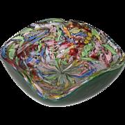 SOLD Large Mid Century Modern Murano Glass Bowl Latticino Tutti Frutti