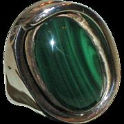 SALE Vintage Modernist RiC Erika Hult de Corral Taxco Sterling Silver & Malachite Ring