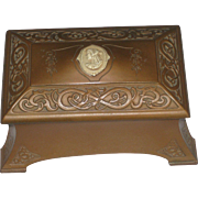 REDUCED Vintage Benedict Studios Athenic Bronze Revival Trinket Casket Box with Cameo