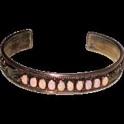 SALE Vintage Native American Zuni Signed Opal & Sterling Silver cuff bracelet