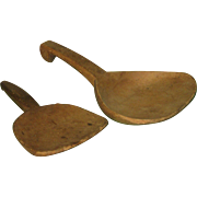 SALE Pair of Old Farm Kitchen Wooden Scoops Primitive Butter Paddle Ladles