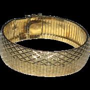 Vintage Gold Vermeil over Sterling Silver Wide Diamond Cut Bracelet Italy