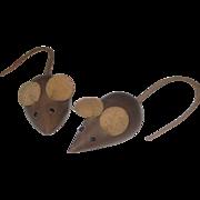 REDUCED Vintage Mid Century Danish Modern Teak Wood Mice Mouse Figurines