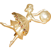 REDUCED Vintage Ballerina Brooch Pin Lucite Rhinestones and Spinning Ball