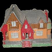 Charming Vintage Cottage Tudor House Metal Still Bank