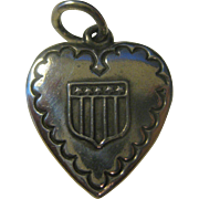 Vintage Sterling Silver Heart Charm Shield with Stars & Stripes, Patriotic