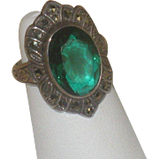Vintage Sterling Silver & Marcasite Green Stone Ring size 4.5