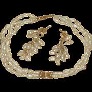 Vintage 14K gold & Freshwater Pearl Bracelet and Earrings Set