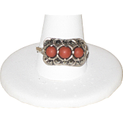 Beautiful Austro Hungarian Silver Ring with Marcasites and Salmon Coral size 10