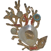 """Beautiful Vintage """"ART"""" co signed Seashell Coral & Turquoise Nautical Brooch Pin"""