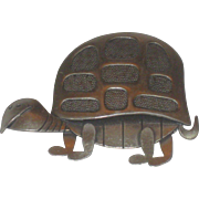 Vintage Sterling Silver Beau Turtle Pin Brooch by Beaucraft