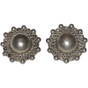 Vintage Taxco Mexico Sterling Silver clip on Earrings