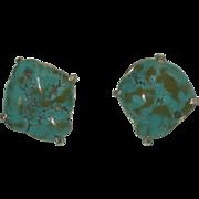 Vintage Jan-Leslie sterling silver Chunky Turquoise clip-back earrings