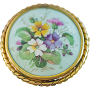 Beautiful Large Vintage Limoges Floral Brooch