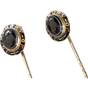Set of Two 14k  Enameled Mourning Stickpins , Banded Agate With Hair Encasements