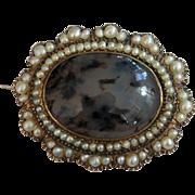Civil War Era Dated Gold, Pearl and Moss Agate Memory Pin