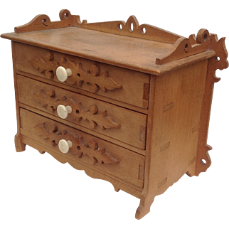 Miniature 19thC chest of drawers for display with small fashions