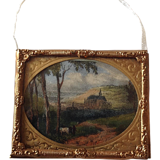 Miniature hand painted print in gilt frame