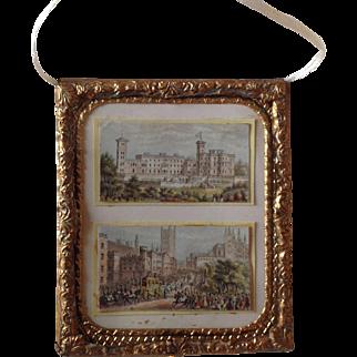 Pair of miniature Baxter prints in gilt metal frame