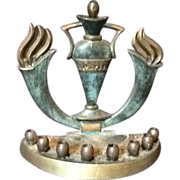 Solid Brass Chanukah Menorah Original from 1967