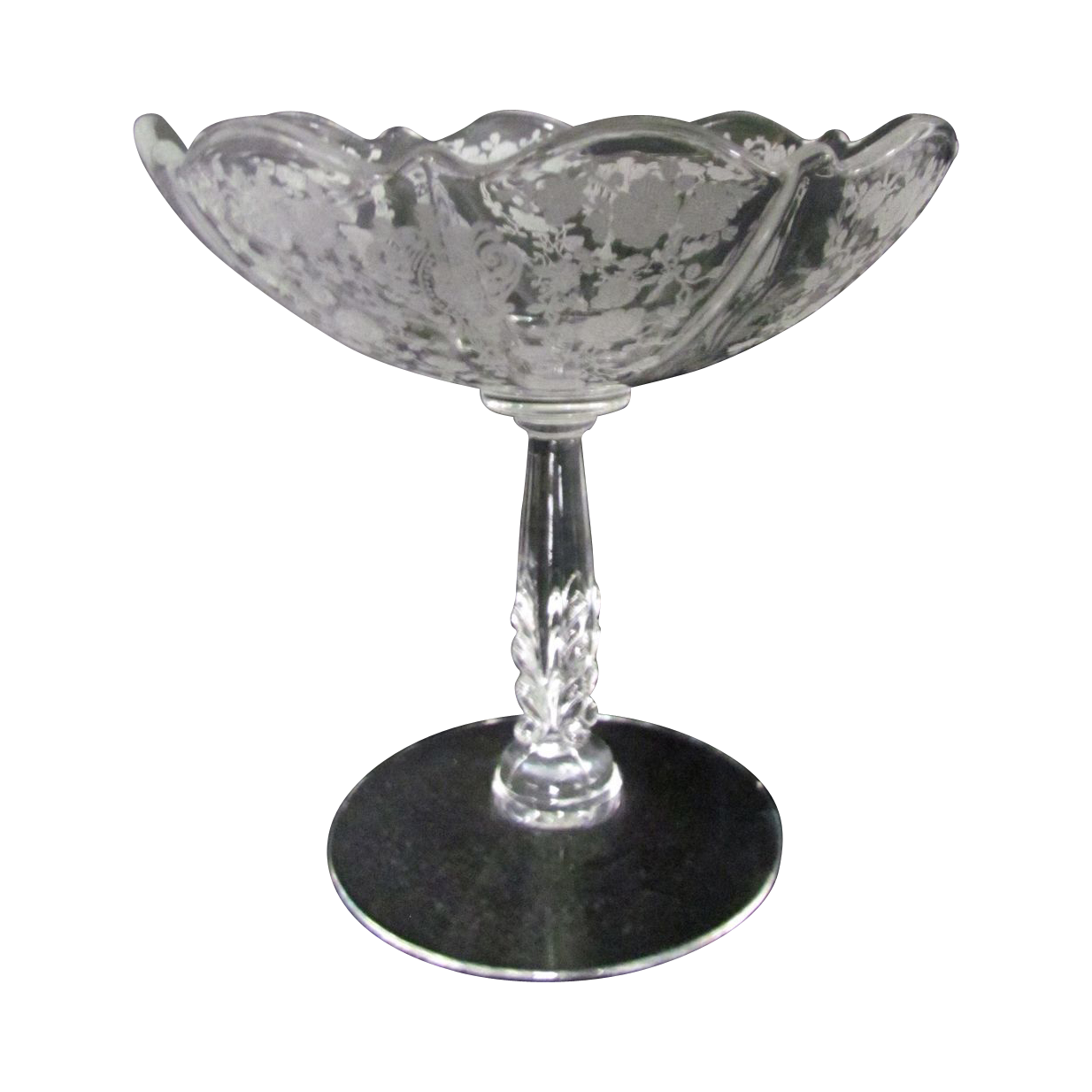 cambridge glass rose point etched comport compote from. Black Bedroom Furniture Sets. Home Design Ideas