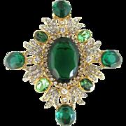 SALE Robert Lane Faux Emerald and Clear Rhinestone Brooch/Pin