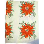 Bold Graphic Poinsettia and Holly Christmas Tablecloth 68 x 54